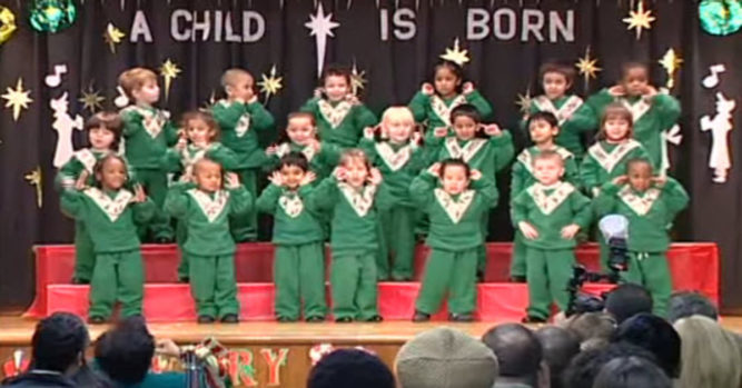 Kids Line Up On Stage For The School Christmas Recital ...