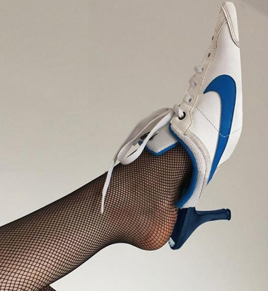 f669a99751a85 That being said, it seems as if the kitten heels are making their way back  into our closets once again. They are being paired with the Nike running  shoe and ...