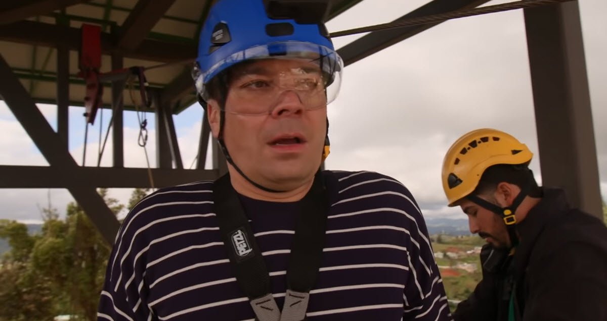 Jimmy Fallon Starts Freaking Out Before Riding On Puerto Rico's Terrorfying 'Monster' Zip Line